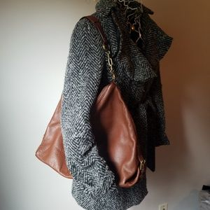 J Crew Large Brown Leather Hobo Style Tote Bag